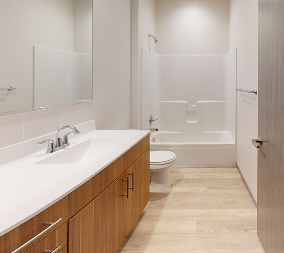 Large bathroom vanity and shower tub combo